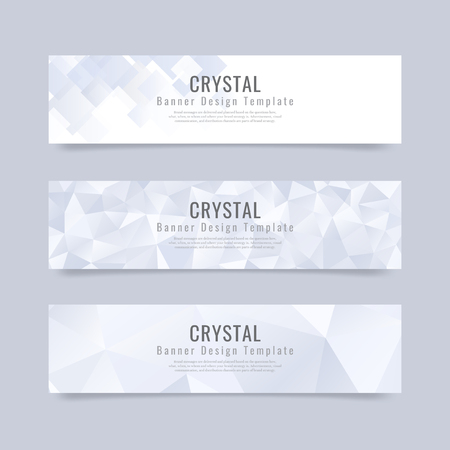 Blue and white crystal textured banner template vector