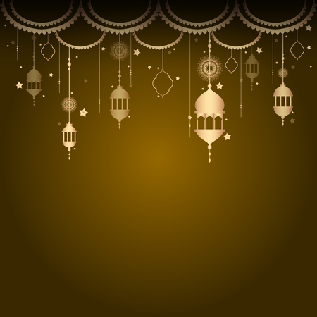 Eid mubarak lantern background vector Ilustrace