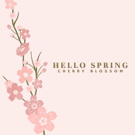 Pink cherry blossom background vector Standard-Bild - 125239536