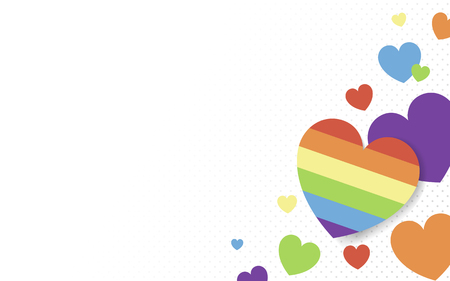 Rainbow colored hearts background vector Stok Fotoğraf - 116996318