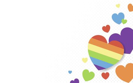 Vector de fondo de corazones de colores arco iris