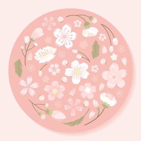 Pink round cherry blossom framed vector 写真素材 - 116996321
