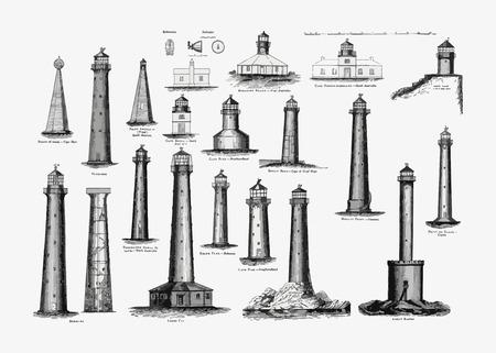 Vintage lighthouses illustration vector