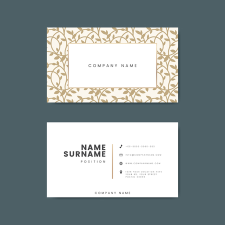 Botanical business card template vector