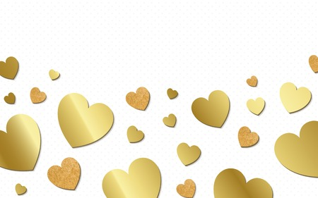 Golden hearts background design vector 스톡 콘텐츠 - 125239573
