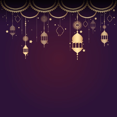 Eid mubarak lantern background vector Çizim