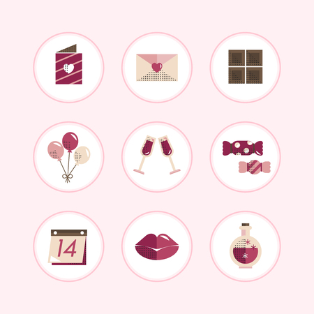 Valentine's symbols and icons vector set