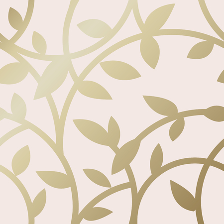 Gold botanical pattern background vector Çizim