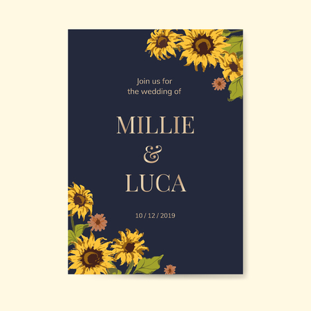 Sunflower wedding invitation card mockup vector Ilustração
