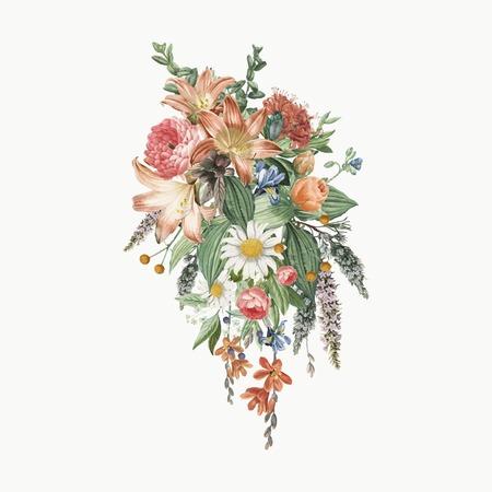 Colorful blooming vintage flowers vector