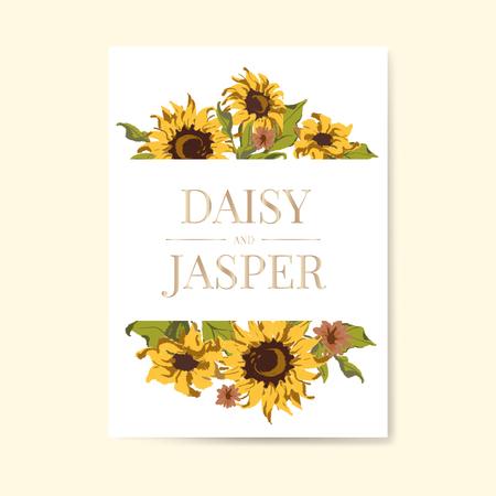 Sunflower wedding invitation card mockup vector Illustration