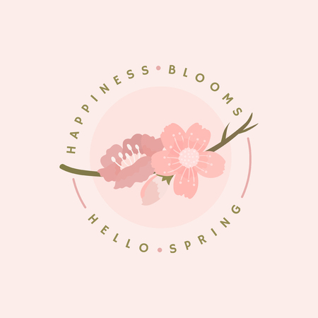 Pink cherry blossom badge vector Illustration