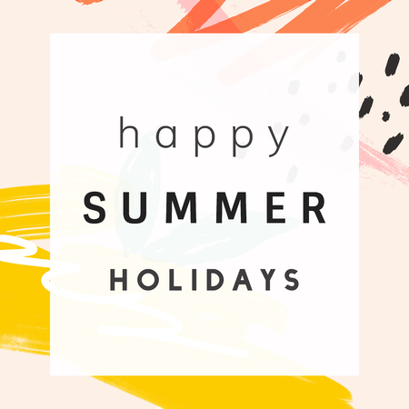 Happy summer holidays with memphis design vector