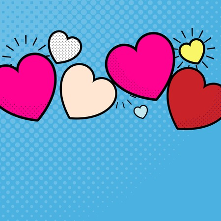 Pop heart background design vector
