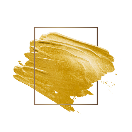 Golden shimmery brush stroke badge vector Illusztráció