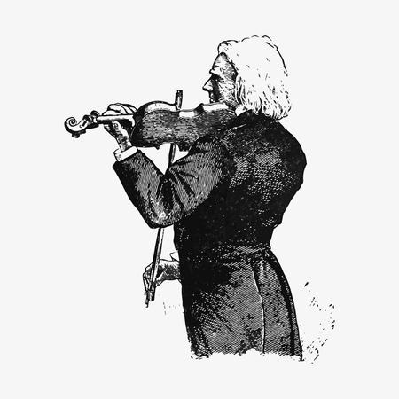 Vintage violinist illustration vector