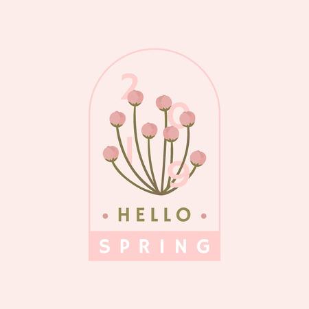 Pink cherry blossom badge vector Illustration