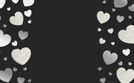Silver hearts background design vector