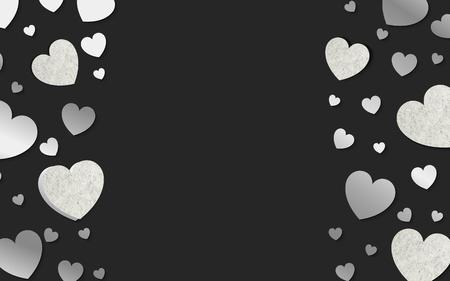 Silver hearts background design vector