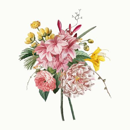 Vecteur de fleurs vintage en fleurs colorées
