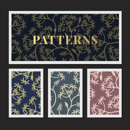 Colorful nature seamless patterned backgrounds set vector
