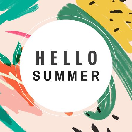 Hello summer memphis design vector Illustration