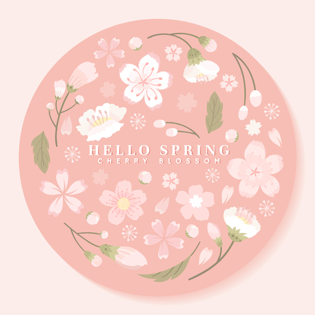 Pink round cherry blossom framed vector