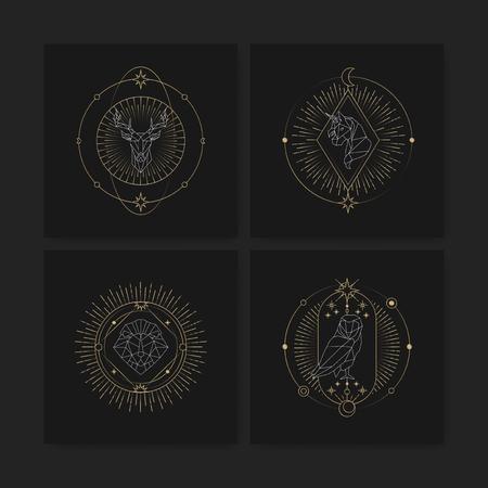 Geometric mystic symbols vector set Standard-Bild - 116996441