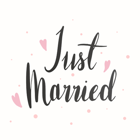 Just married typography card vector