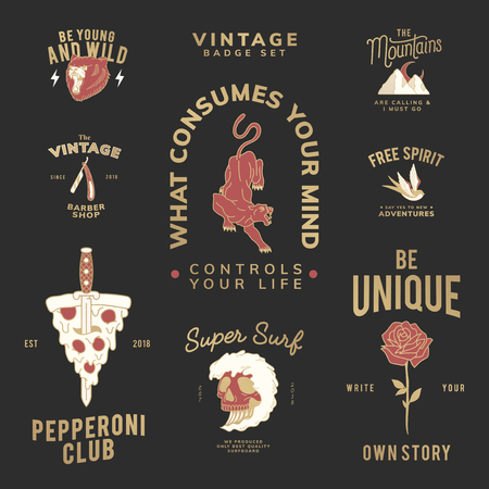 Motivational vintage badge set logo vector Illustration