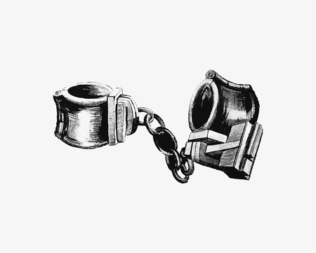 Vintage handcuffs illustration vector