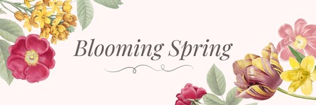 Floral blooming spring banner vector