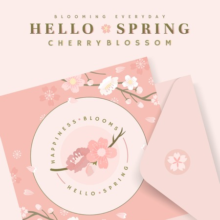 Pink cherry blossom postcard template vector Illustration