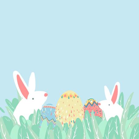 Easter eggs hunt festival background vector