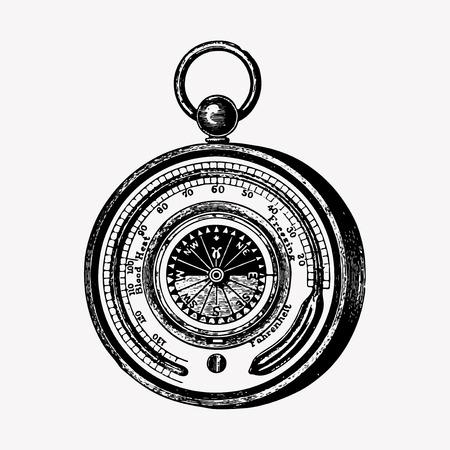 Vintage aneroid barometer engraving vector