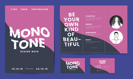Monotone corporate brochure and business card template mockup vector
