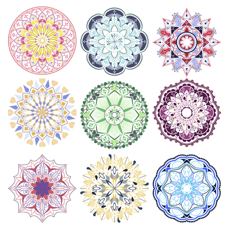 Colorful mandala patterns set on white background Illustration