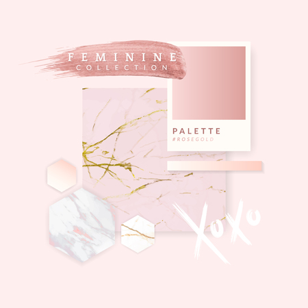 Pink feminine geometric background vectors set Illustration