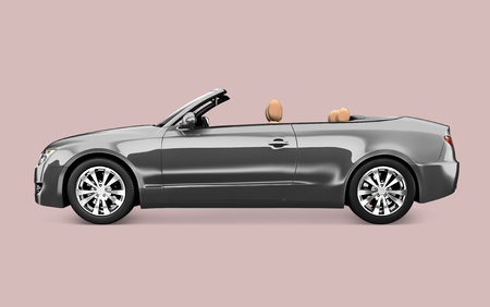 Side view of a silver convertible in 3D