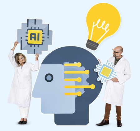 Researchers holding Artificial Intelligence icons