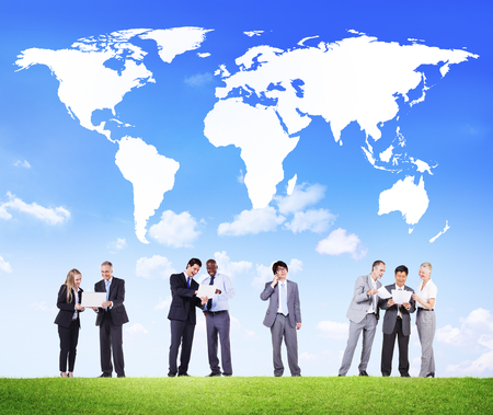 Business people with global communication concept