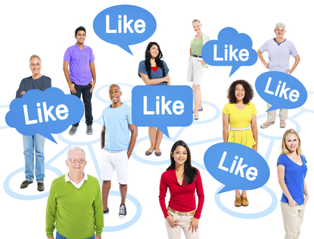 Cheerful Multi-Ethnic Group Of People Standing Individually Above Them Speech Bubbles With The Word Like. Stok Fotoğraf