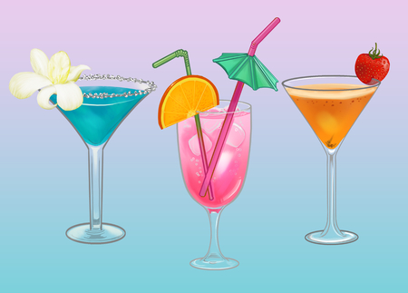 Tropical beach party cocktail illustration