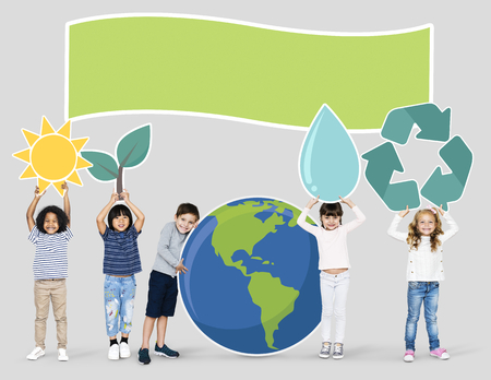 Diverse kids spreading environmental awareness