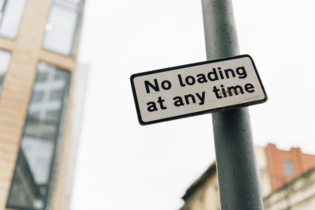 No loading at any time sign in a city