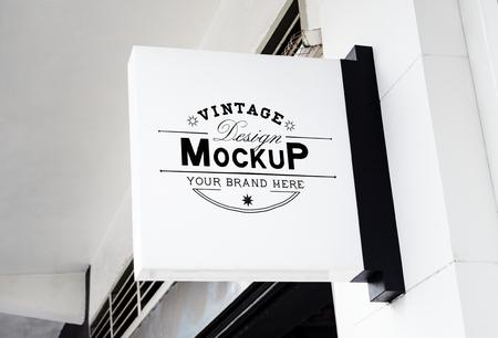 White vintage design board mockup Фото со стока