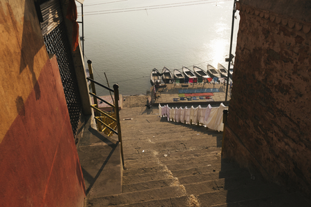 View of ghat at River Ganges in Varanasi, India Stock Photo