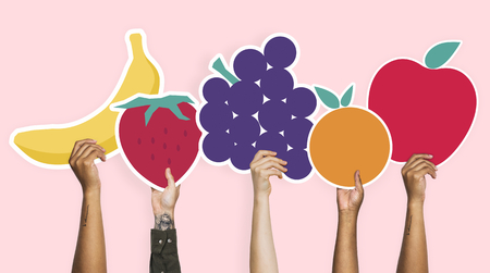 Hands holding a set of fruits clipart