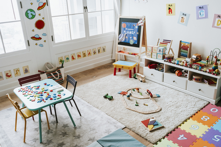 Interior design of a kindergarten classroom