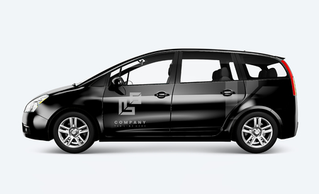 Side view of a black minivan in 3D